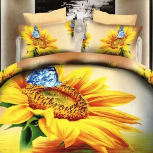Set 4 Piese Lenjerie De Pat Digital Print 3D SunFlower