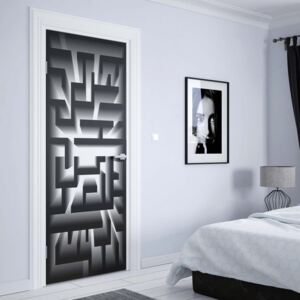 GLIX Tapet netesute pe usă - 3D Geometric Black And White Maze