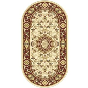 Covor sintetic Atlas oval bej/bordo 60x110 cm