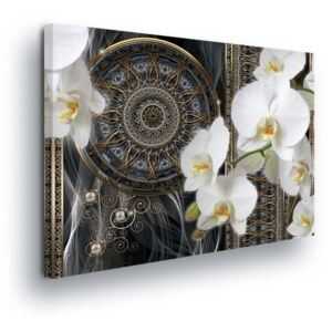 GLIX Tablou - White Flower with Oriental Theme II 60x40 cm