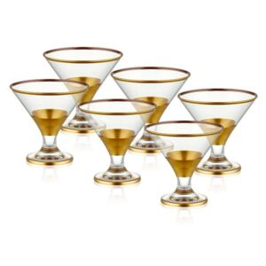 Set 6 pahare pentru cocktail Mia Glam Gold, 225 ml