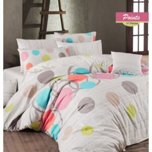 Lenjerie pat 3 piese, bumbac 100% ranforce,1 persoana, Bahar Home, Points Pink