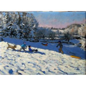 Sledging near Youlgreave, Derbyshire Reproducere, Andrew Macara