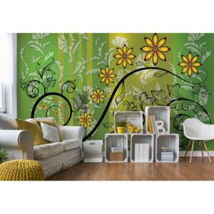 Fototapet GLIX - Floral With Swirls Green And Yellow + adeziv GRATUIT Tapet nețesute - 416x254 cm