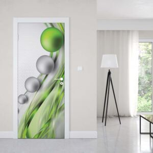 GLIX Tapet netesute pe usă - Modern Abstract 3D Design Silver And Green