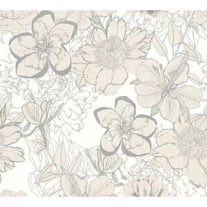Tapet hartie Urban flowers model floral bej 10,05x0,53 m