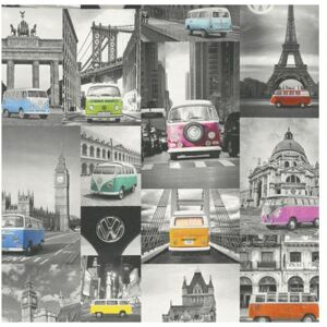 Tapet vlies Collage VW Bulli gri/colorat 10,05x0,53 m