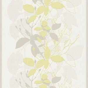 Tapet vlies model floral alb/gri/verde 10,05x0,53 m