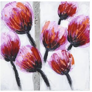 Tablou pictat manual Tulip roz 30x30 cm