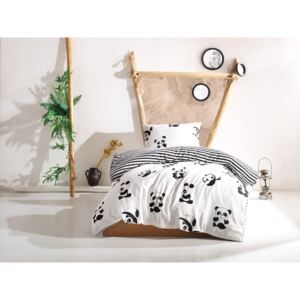 Lenjerie pat single EnLora Home 2 piese Panda Black White