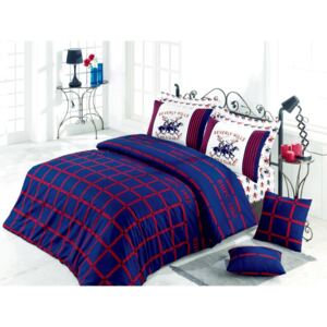 Lenjerie single Beverly Hills Polo Club 100%bumbac ranforce Red&Blue