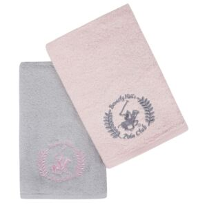 Set 2 prosoape baie 50x90cm Beverly Hills Polo Club 402 Pink Light Grey