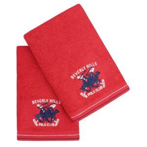 Set 2 prosoape baie 50x90cm Beverly Hills Polo Club 401 Red