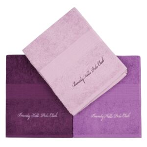 Set 3 prosoape baie 50x100cm Beverly Hills Polo Club Lilac/Purple
