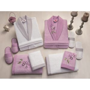 Set matrimonial bambus si bumbac, Cotton Box, Alb/Lila