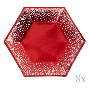 Set 8 farfurii din hârtie Nevity Red & White Dots, ⌀ 20 cm, roșu