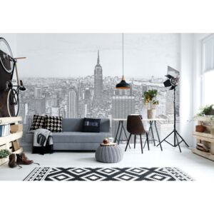 Fototapet GLIX - White And Grey New York Skyline + adeziv GRATUIT Tapet nețesute - 416x254 cm
