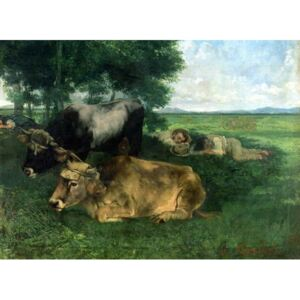 La Siesta Pendant la saison des foins (and detail of animals sleeping under a tree), 1867, Reproducere, Gustave Courbet