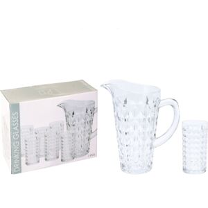 SET CARAFA 1000 ML 14X22 CM + 6 PAHARE 14X7 CM, STICLA, TRANSPARENT