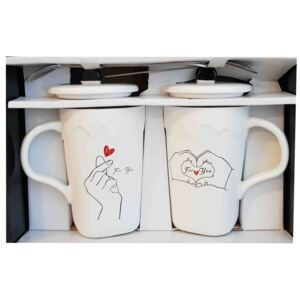 Set 2 Cani cu lingurita si capac FOR YOU 300 ml