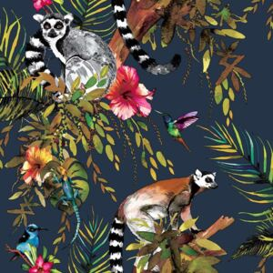 DUTCH WALLCOVERINGS Tapet model lemur, albastru pe