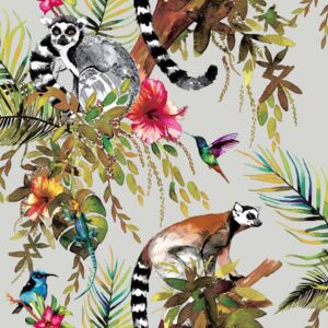 DUTCH WALLCOVERINGS Tapet model lemur, argintiu 12401