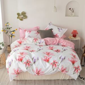 Lenjerie Evolution 6 piese bumbac satinat ELV1029 Pink flowers