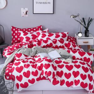 Lenjerie Evolution 6 piese bumbac satinat ELV1017 Red hearts