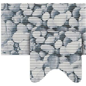 Set covorase baie Softy-Tex® Stones gri