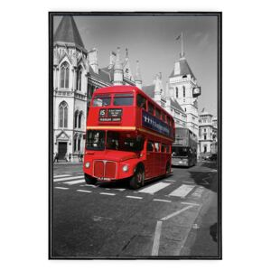 Tablou Canvas Inramat - Canbox - Oras, Arhitectura, Londra, Red Bus, Rama Neagra