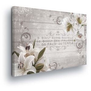 GLIX Tablou - Vintage with White Flowers II 4 x 30x80 cm