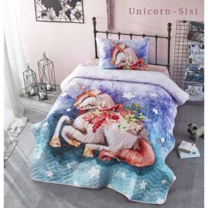Set cuvertura matlasata + 1 fata perna bumbac 100%, Club Cotton, Unicorn Sisi
