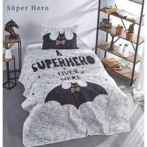 Set cuvertura matlasata + 1 fata perna bumbac 100%, Club Cotton, Super Hero