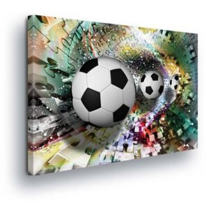 GLIX Tablou - Colorful Puzzle with Soccer Ball 2 x 40x60 / 2 x 30x80 / 1 x 30x100 cm