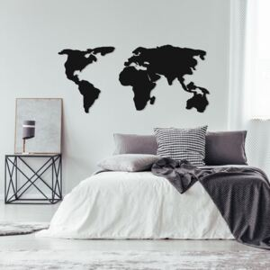 Decorațiune metalică de perete World Map Two, 121 x 56 cm, negru