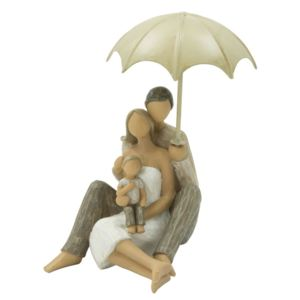 Decoratiune din rasina Family with umbrella, l11,5xA9,5xH17,5 cm