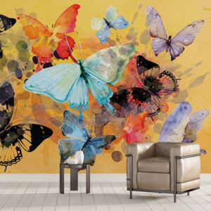 Tapet - Butterflies Abstract Painting Style