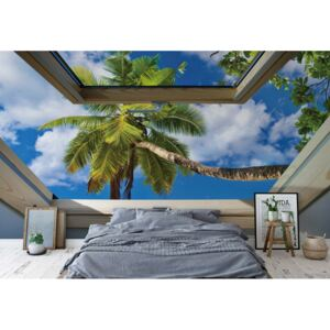 GLIX Fototapet - Tropical Beach 3D Skylight Window View Papírová tapeta - 368x280 cm