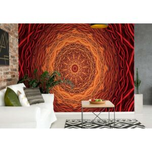 Fototapet GLIX - Abstract Mandala Orange Red + adeziv GRATUIT Tapet nețesute - 206x275 cm