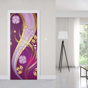 GLIX Tapet netesute pe usă - Luxury Ornamental Floral Design Purple