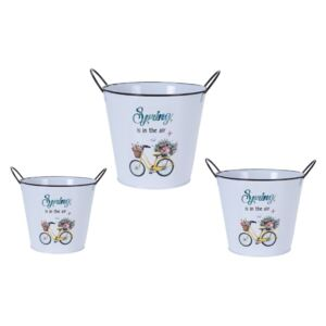 Set recipiente ghiveci Flower bicycle, 3 buc