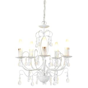 [lux.pro]® Lustra design elegant Antique, 5 x E14, inaltime 145 cm, metal/cristal artificial, alb
