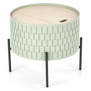 Masa de cafea din MDF si metal Sintra Light Green / Black, Ø35xH35 cm