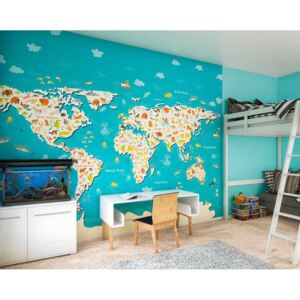 Ohpopsi Fototapet mapa - Animals Of The World Map 300x240 cm