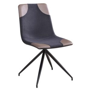 Scaun tapitat cu stofa, cu picioare metalice Lars Grey / Light Grey / Black, l46xA61xH85 cm
