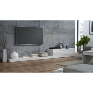 Comoda TV living alba Life, structura din pal si front din MDF, 300x42x35 cm lxAxh