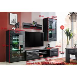 Set mobila living Timber 1, MDF negru cosmic, ILUMINARE LED INCLUSA, 240x190x46 cm