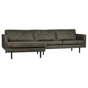 Canapea cu colt verde army din piele si poliester 300 cm Rodeo Left Be Pure Home