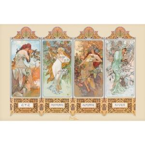 Alfons Mucha – four seasons Poster, (91,5 x 61 cm)