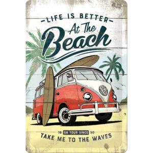 Buvu Placă metalică: VW Life is Better at the Beach - 30x20 cm